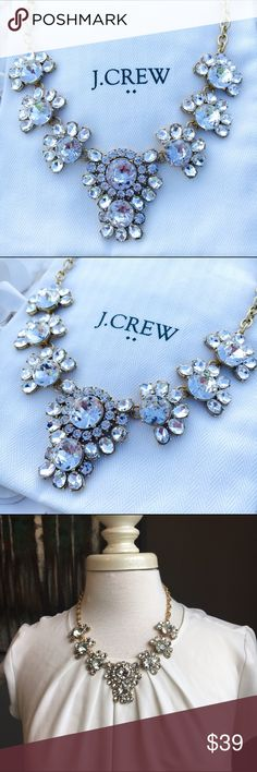"""NWT J Crew Floral Crystal Statement Necklace NWT J Crew Floral Crystal Statement Necklace - Crystal Glass Stones - Light gold ox plating - 18"""" long with 3"""" adjustable length extender chain - white J Crew monogrammed drawstring storage bag and custom made jewelry box included with purchase - reasonable offers welcomed - bundle discounts available J. Crew Jewelry Necklaces"""