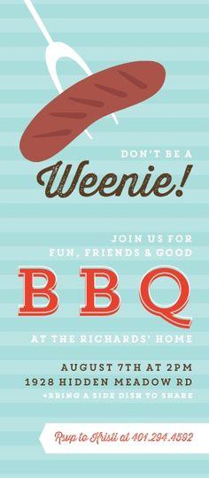 Modern Hot Dog BBQ Invitation by InviteShop.com. #cheappartyinvitations #summerpartyinvites