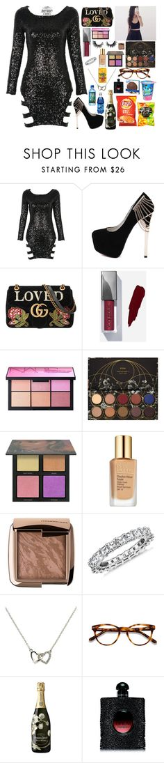 """""""NEW YEAR PARTY"""" by lucyheartyui ❤ liked on Polyvore featuring WithChic, Gucci, NARS Cosmetics, Huda Beauty, Estée Lauder, Blue Nile, Melissa Odabash, EyeBuyDirect.com, Perrier-JouÃ«t and Yves Saint Laurent"""