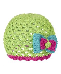 Take a look at this Green Crocheted Bow Beanie by GANZ on #zulily today! $10 !!