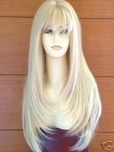 Extra Long Faceframe Page Style Fashion Wig. Blonde Mix.  I love this cut