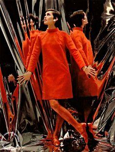 SWEET JANE: Billion Dollar Look 1967 vintage fashion style color photo print ad model magazine red shift dress long sleeves mod 60s