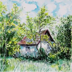 Farm Painting by Kovacs Anna Brigitta