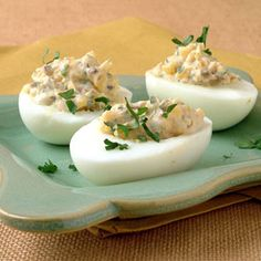 Provencal Deviled Eggs with sun-dried tomatoes, capers and olives...1 WW pt. per egg half.  http://www.myrecipes.com/recipe/provenal-deviled-eggs-10000001160612/.