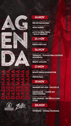 Social Media / Agendas - DJ Zullu 2018 on Behance Graphic Design Flyer, Church Graphic Design, Creative Poster Design, Web Design, Schedule Design, Music Flyer, Instagram Design, Photoshop Design, Social Media Design