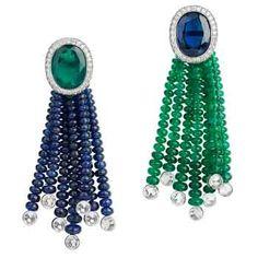 Avakian emerald, sapphire and diamond earrings