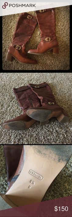 """Coach boots 8.5 brown with gold accents ✨EUC ✨ Sad to let these go ☹️ but my feet went up in size after I had kids.  They are so gorgeous and so comfortable.  Made in Italy and in EUC.  Size is 8.5 and heel is 2.5"""". Coach Shoes Heeled Boots"""