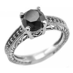 LOVE it! 2.45ct Black Diamond Engagement Ring Antique Style 14k White Gold: Jewelry: Amazon.com