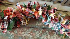 Rag Garland, Felt Ball Garland, Fabric Garland, Pom Pom Garland, Garlands, Rustic Christmas, Plaid Christmas, Christmas Stuff, Christmas Decor
