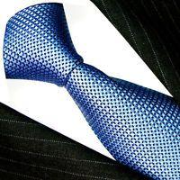 84470 LORENZO CANA Italian Tradition 100% Silk Neck Tie Blue Polka Dots
