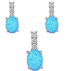 Sterling Silver Blue Opal & CZ Earrings & Necklace Set :http://www.stormgems.co.za/product/sterling-silver-blue-opal-cz-earrings-necklace-set/