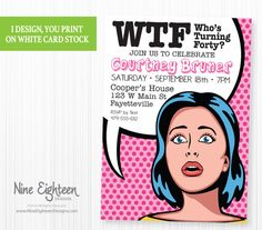 Funny 40th Birthday Party Invitation Pop By NineEighteenBirthday Wording Paper Printable Invitations