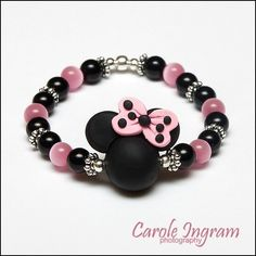 Adorable Minnie Mickey Mouse Polymer Clay Bead Pink and Black Girls Childs Bracelet. $7.99, via Etsy.