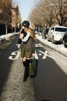 New York City Fashion and Personal Style Blog: Wool fedora, shearling jacket, shearling scarf, cashmere sweater, full mini skirt, thigh-high boots
