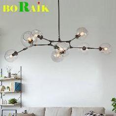 [ 24% OFF ] Loft Industrial Chandeliers Globe Glass Lights Modern Minimalist Design Chandelier Hanging In Living Room/restaurant E27 Lamps