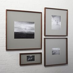 Shop gallery walnut picture frames with grey mats. Exhibit your favorite photos gallery-style. Creating a display of modern proportions, oversized grey mat floats a single photo within a sleek frame of warm walnut. Wall Collage Picture Frames, 11x14 Picture Frame, Picture Frame Display, Unique Picture Frames, Hanging Picture Frames, Picture Wall, Frames On Wall, Photo Wall Art, Collage Pictures