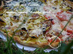 Tarte salée rustique, pâte feuilletée Epinards, oignons, tomates, comté