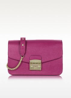 Metropolis S Raspberry Leather Shoulder Bag - Furla