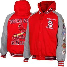 #Fanatics St. Louis Cardinals 11X World Series Champs Defender Commemorative Full Button Hooded Jacket - Red/Gray