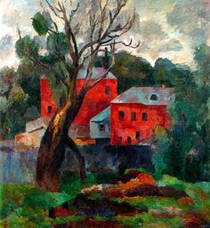Red Houses 1921.  Robert Falk (1886 - 1958) was a Russian painter. In 1910, Falk was of the founders and the most active participants of artistic group Jack of Diamonds. The group considered Paul Cézanne the only painter worth following, and the rest of visual art to be too trivial and bourgeois. The distinctive feature of Falk's paintings of the time was sculpturing of the form using many layers of different paints.