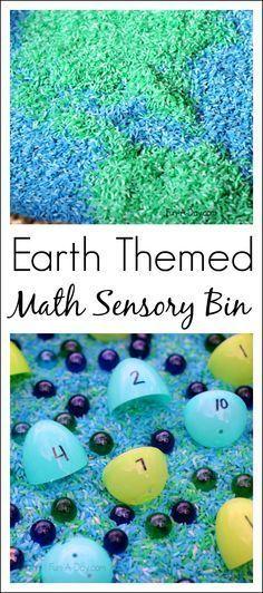 Earth themed math sensory bin - great for teaching kindergarten and preschool math skills in a hands-on way