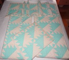 VINTAGE MATCHING Hand Sewn TWIN QUILTS and 2 PILLOW COVERLETS 4 piece SET