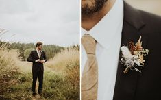 fall rustic groom necktie and boutonniere
