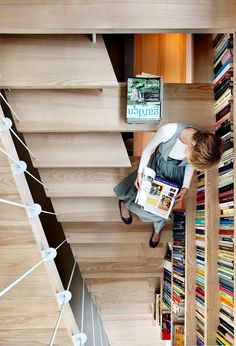 floating staircase + library