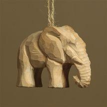 Carved Wood Ornament - Elephant (Set/4)