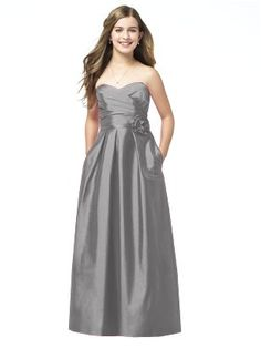 Junior Bridesmaids Dress: Strapless full length dupioni dress with sweetheart pleated surplice bodice. Matching belt and flower detail at natural waist. Pockets at side seams of full pleated skirt. Dress Color: Quarry  Dress Style: JR504