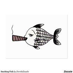 Smoking Fish Business Card #card #business #card #tobacconist #tobacco #cigar #shop #irony #ironic #funny #humor #humorous #comical #fun #cartoon