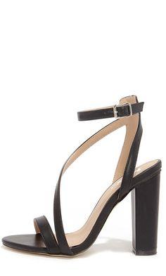 Step Squad Black High Heel Sandals//