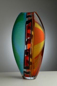 Italian Glass Vase - Vetreria Artistica Gambaro & Poggi art glass aqua teal turquoise orange yellow