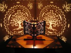 Decorative Ambient Lasercut Wooden Maple Tree Shadow Light for romantic atmosphere, chill, relaxing, projects silhouettes on the wall