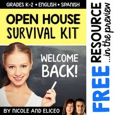 Meet the Teacher Open House. This downloads in English plus a FREE Spanish version. It has everything you need for a successful fall open house including a sign-in sheet, room signs, parent contact forms, bulletin board templates, parent interview, wish-list display templates and treat tag templates.