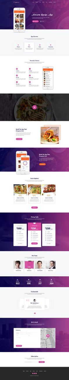 Fine Recipe App Landing page #cooking #dishes #elegant • Download ➝ https://themeforest.net/item/fine-recipe-app-landing-page/19827287?ref=pxcr