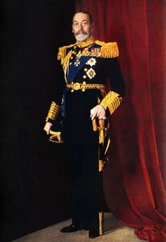 King George V, official portrait photograph of 1935, in full dress uniform with sword