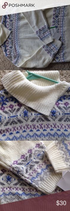 """Alfred Dunner """"As You Wish"""" sweater NWT Alfred Dunner sweater. Pretty blue, purple and silver stitching. Alfred Dunner Sweaters Cowl & Turtlenecks"""