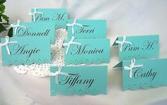 Tiffany & Co place escort name card wedding printed Tent Shabby Chic Blue 10 Piece Set Any Color on Etsy, $9.99