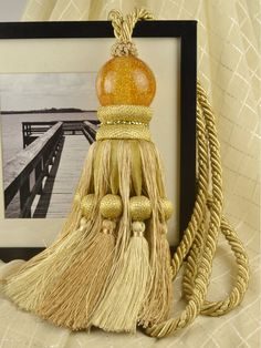 3 Colors QYM12 Faux Silk and Acrylic Curtain Tassel Tie Backs in Yellow Color