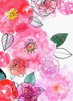 new ideas for flowers acuarela illustration floral Watercolor Flowers, Watercolor Paintings, Watercolors, Art Flowers, Floral Flowers, Pretty Flowers, Watercolor Ideas, Watercolor Background, Pink Floral Background