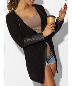 Stylish Long Sleeve Faux Leather Spliced Asymmetrical Women's Cardigan