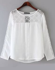 2015 New Workwear Shirts Casual Chiffon Blouse Fashion Ladies' Elegant Lace Blouses Lace Spliced Tops Plus Size Size S M 38 Spring Blouses, Bohemian Mode, European Fashion, European Style, White Long Sleeve, Blouse Designs, Blouses For Women, Boho Fashion, Fashion Fabric