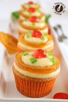 Cupcakes de Crema y fruta confitada