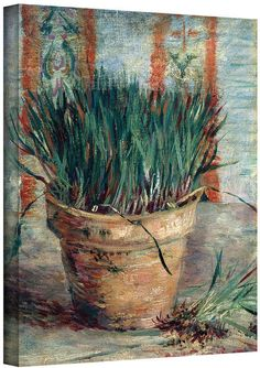Art Wall 36'' x 48'' ''Chives with Flowerpot'' Canvas Wall Art by Vincent van Gogh