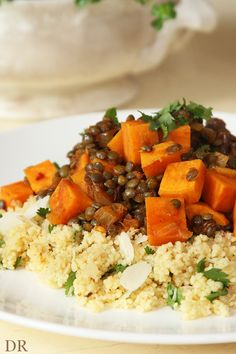 Lentil sweet potato stew with couscous and raisins. Use quinoa instead.