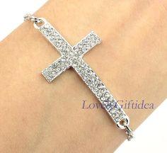 Diamond cross bracelet,silver chain,shining cross jewelry ,cross charm,cuff,gift idea. by LovelyGiftidea, $0.99