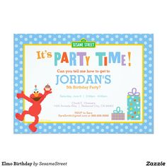 Elmo Birthday 13 Cm X 18 Cm Invitation Card