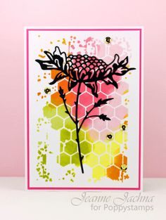 MB  Honeycomb stencil background with inks, silhouette sunflower. Very striking!