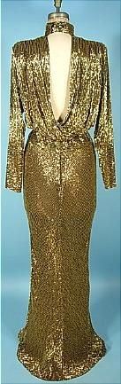 1980s BOB MACKIE Couture Gold Beaded Gown! Previously Owned and Worn by WHITNEY HOUSTON  (back)